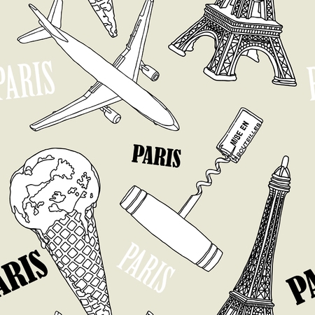Vintage seamless pattern - illustration of of Paris symbols Vector