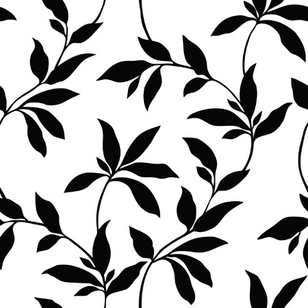 Elegance Seamless pattern with leafs ornament, vector floral illustration in vintage style