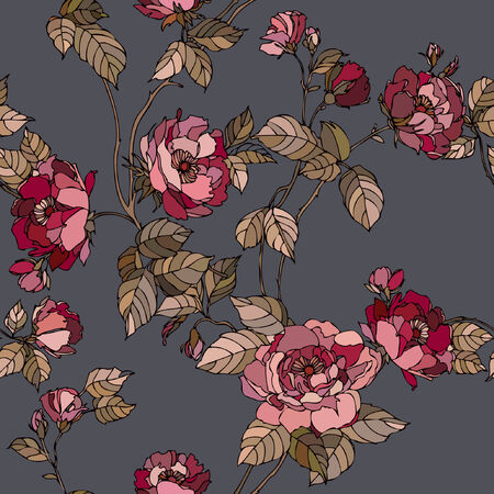 花バラと優雅なシームレス パターン