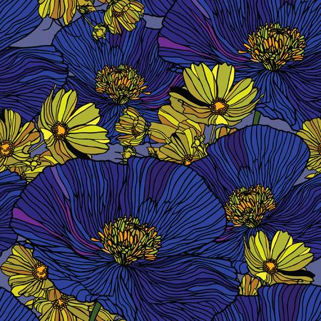 エレガンス花ポピーとヒナギク、シームレスなパターン ベクトル ビンテージ スタイルの花のイラスト  イラスト・ベクター素材