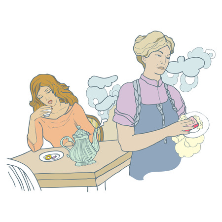 Conflict between mum and daughter at home. Vector illustration. Vector