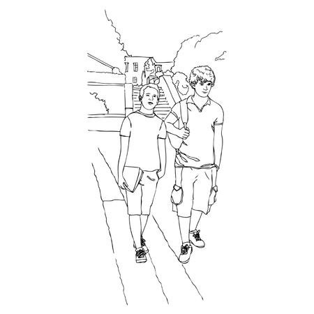 Two school boy friend walk in the park. Vector