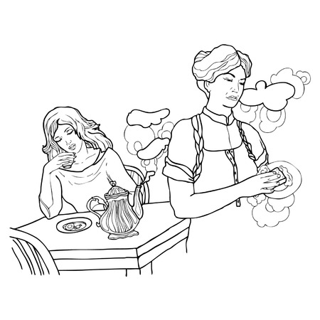 exhaustion: Conflict between mum and daughter at home. Vector illustration.