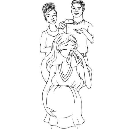 Crying pregnant woman with his husband and mother. Vector illustration.