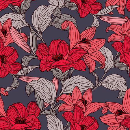 lily vector: Elegance Seamless pattern with flowers lily, vector floral illustration in vintage style