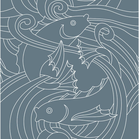 Elegance Seamless pattern with fish in the sea, vector ornament illustration in vintage style Vector