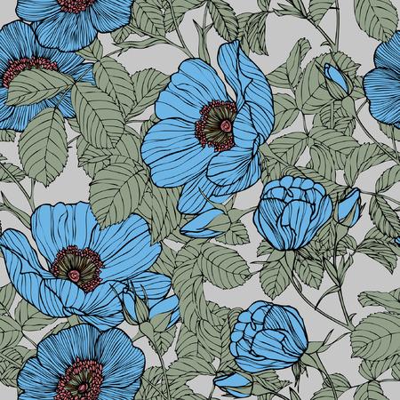 Elegance Seamless pattern with flowers roses Çizim