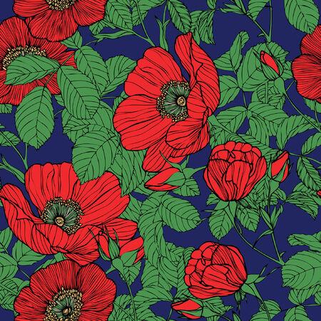 eglantine: Elegance Seamless pattern with flowers roses, floral illustration in vintage style Illustration