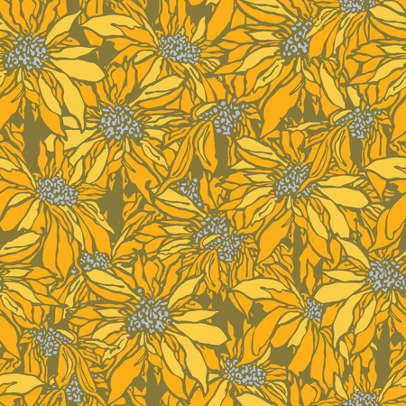 eglantine: Elegance Seamless pattern with flowers sunflower, floral illustration in vintage style