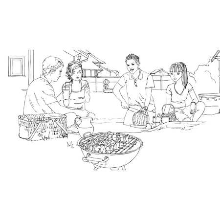 Big family having picnic outdoors Vector