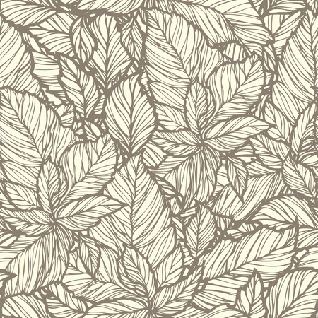 Elegance Seamless pattern with leaf ornament, floral illustration in vintage style
