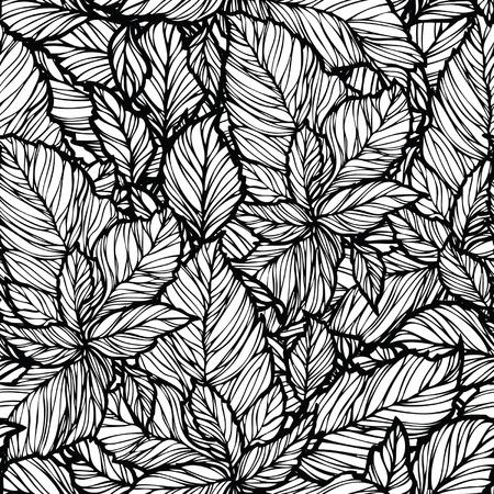 Elegance Seamless pattern with leaf ornament, floral illustration in vintage style