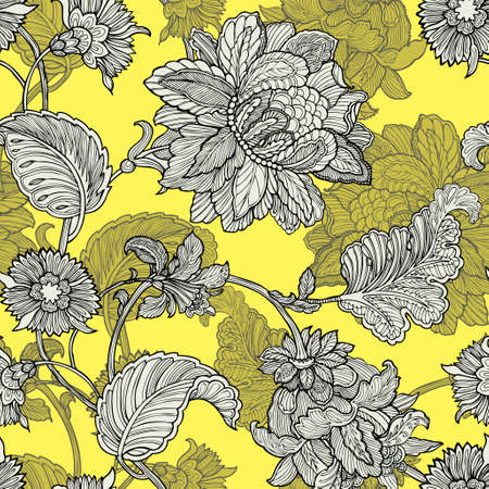 nature wallpaper: Elegance Seamless pattern with flowers peonies, vector floral illustration in vintage style