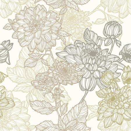 Elegance Seamless pattern with chrysanthemum flowers, vector floral illustration in vintage style