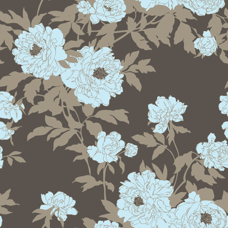 magnificence: Elegance Seamless pattern with flowers peonies, vector floral illustration in vintage style