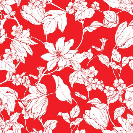 eglantine: Elegance Seamless pattern with flowers Plumeria, vector floral illustration in vintage style Illustration
