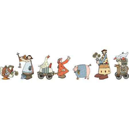 inhabitants: Illustrato gruppo di animali comici e gli abitanti della fattoria. Formato vettoriale