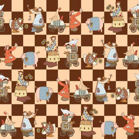 inhabitants: Seamless pattern con gruppo Illustrato di animali comici e gli abitanti della fattoria. Formato vettoriale
