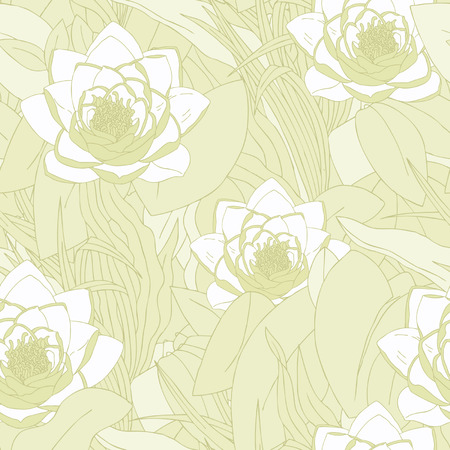 Elegance Seamless pattern with flowers lily, vector floral illustration in vintage style Vector
