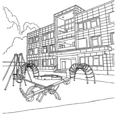 Kindergarten building illustration Vector