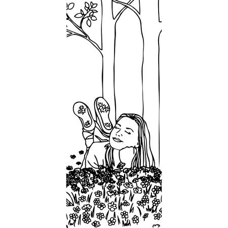 Beautiful woman enjoying daisy field, nice female lying down in the meadow of flowers. Illustration
