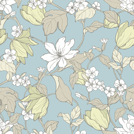 eglantine: Elegance Seamless pattern with flowers magnolia and tulips, vector floral illustration in vintage style