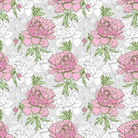 peonies: Elegance Seamless pattern with flowers peonies, vector floral illustration in vintage style