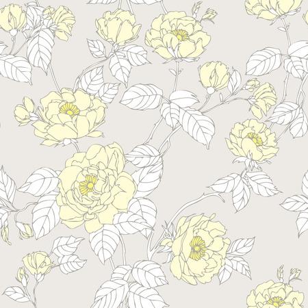 eglantine: Elegance Seamless pattern with flowers roses, floral vector illustration in vintage style Illustration