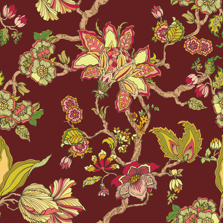 nosegay: Elegance Seamless pattern with ornament, vector floral illustration in vintage style
