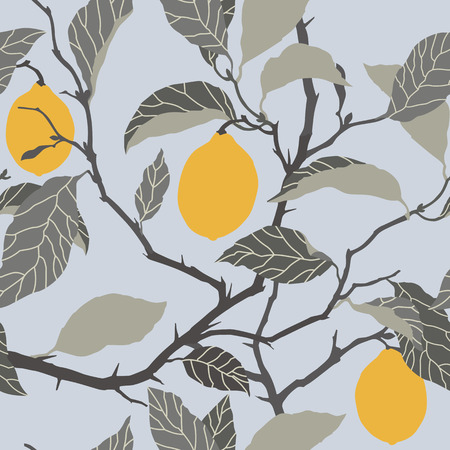 Elegance Seamless pattern with lemon tree ornament, vector floral illustration in vintage style Vector