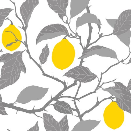 Elegance Seamless pattern with lemon tree ornament, vector floral illustration in vintage style