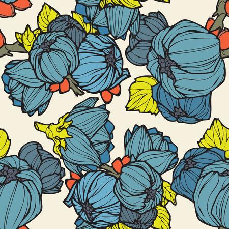 motif floral: Elegance Seamless avec lupins, vecteur floral illustration dans le style vintage Illustration