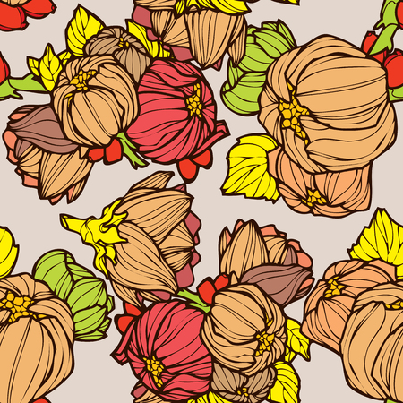 Elegance Seamless pattern with lupins, vector floral illustration in vintage style