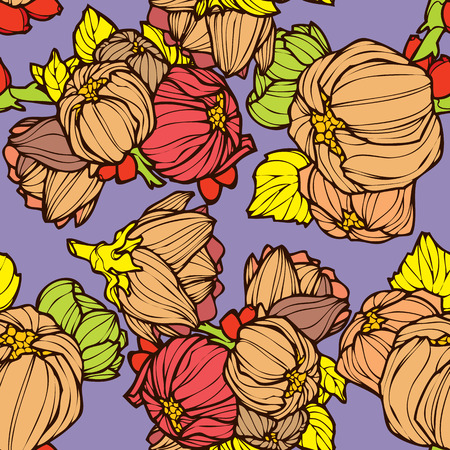 lupins: Elegance Seamless pattern with lupins, vector floral illustration in vintage style