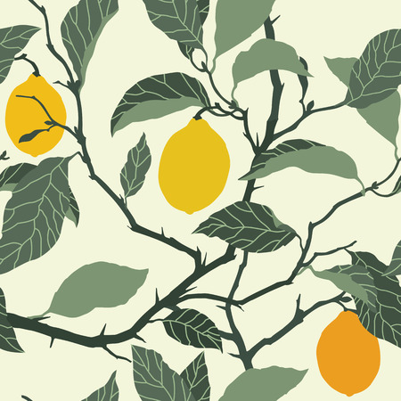 Elegance Seamless pattern with lemon tree ornament, vector floral illustration in vintage style Stock Vector - 38889494