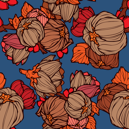 lupins: Elegance Seamless pattern with lupins floral illustration in vintage style