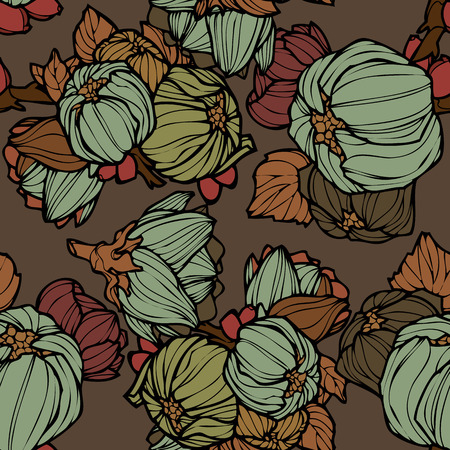 Elegance Seamless pattern with lupins floral illustration in vintage style