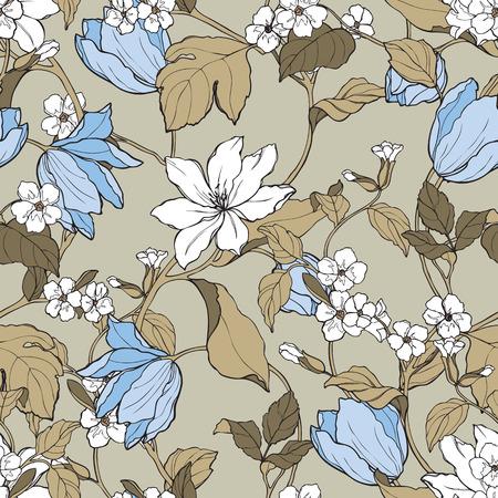 マグノリアとチューリップの花を持つエレガントなシームレス パターン ベクトル ビンテージ スタイルの花のイラスト
