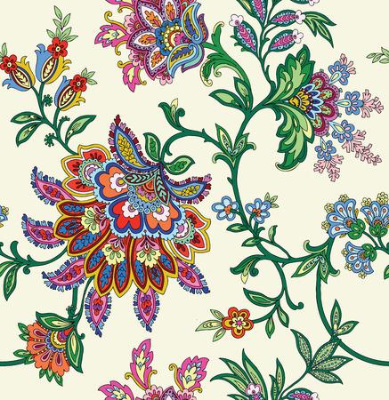 ビンテージ スタイルの飾りベクトル花イラスト エレガンス シームレス パターン  イラスト・ベクター素材
