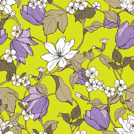 eglantine: Elegant Seamless pattern with flowers Magnolia and tulips vector floral illustration in vintage style