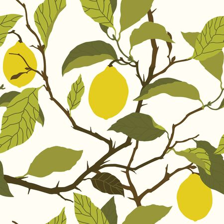 Elegance Seamless pattern with lemon tree ornament vector floral illustration in vintage style