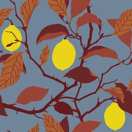 citrus tree: Elegancia sin fisuras patr�n con el �rbol de lim�n ornamento ilustraci�n vectorial floral en estilo vintage