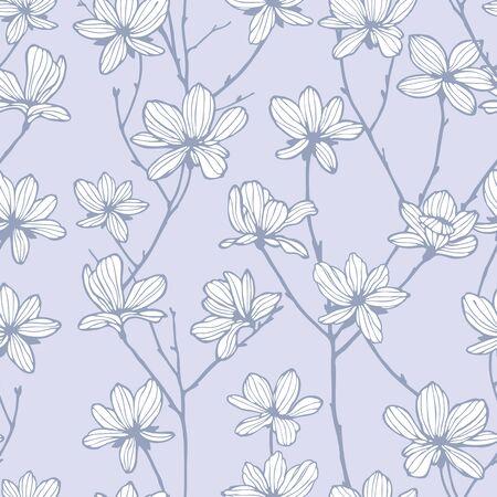 patrones de flores: Elegance Modelo inconsútil con las flores manzano ilustración vectorial floral en estilo vintage