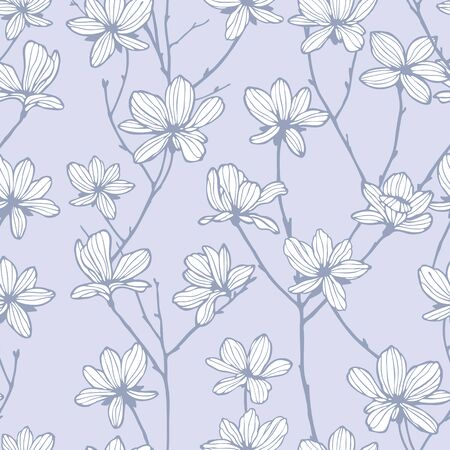 Elegance Seamless pattern with flowers appletree vector floral illustration in vintage style Vector