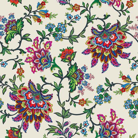 ビンテージ スタイルの飾りベクトル花イラスト エレガントなシームレス パターン
