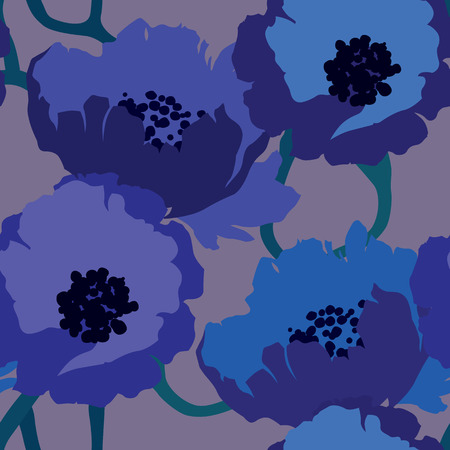 Elegance Seamless pattern with flowers poppy floral vector illustration in vintage style