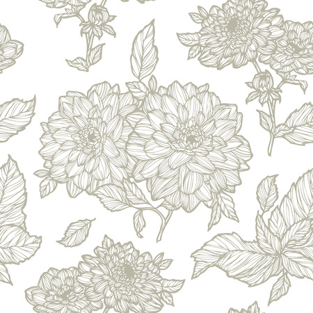 aster: Elegant Seamless pattern with dahlias flowers ornament vector floral illustration in vintage style Illustration