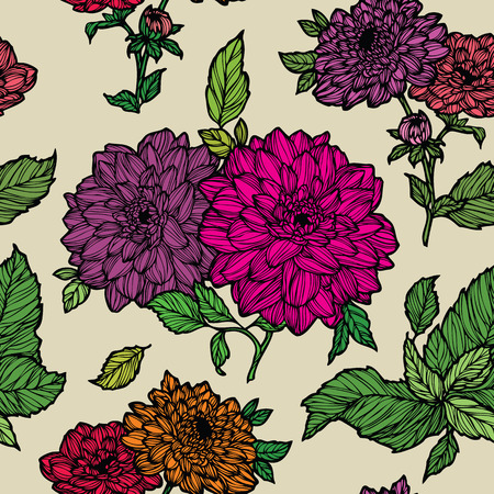Elegant Seamless pattern with dahlias flowers ornament vector floral illustration in vintage style Vector