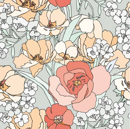 Elegance Seamless pattern with flowers roses floral vector illustration in vintage style Vector