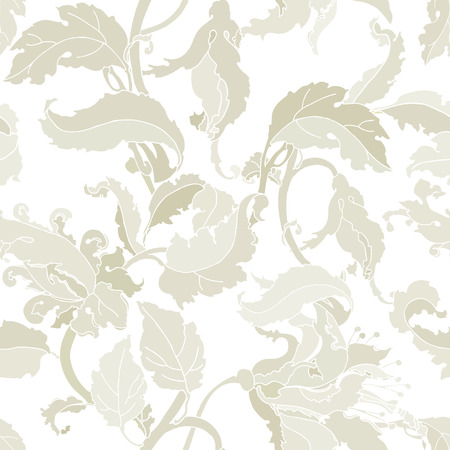 Elegance Seamless pattern with flowers orchids vector floral illustration in vintage style